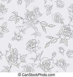 Floral Seamless Pattern with Roses in Sketched Outline Style. Flowers Monochrome Hand Drawn Background for Fabric, Print, Wrapping Paper, Decor. Vector illustration