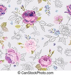 Floral Seamless Pattern with Roses in Sketched Outline...