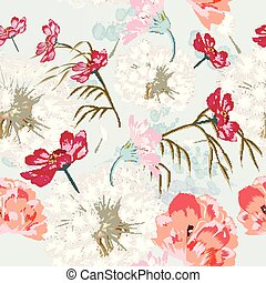 Floral seamless pattern with spring flowers