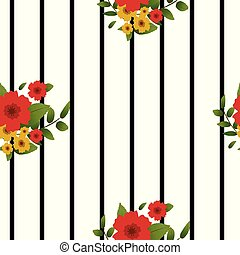 Floral seamless pattern with stripes