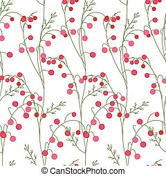 Floral seamless pattern with stylized red berries