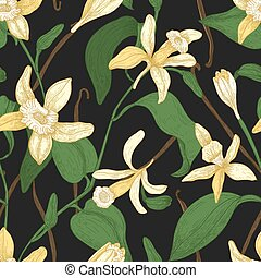 Floral seamless pattern with vanilla, leaves, blooming flowers and fruits or pods on black background. Natural vector illustration in antique style for fabric print, wallpaper, wrapping paper.