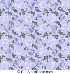 Floral seamless pattern with white chrysanthemums on lilac background