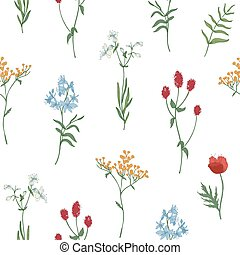 Floral seamless pattern with wild blooming flowers and flowering herbs on white background. Natural backdrop with wildflowers. Elegant vector illustration for wrapping paper, fabric print, wallpaper.