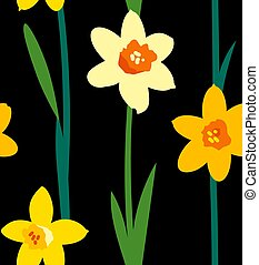 Floral seamless pattern with yellow daffodils and green branches isolated on black background. Endless texture for spring or summer design. Bright fabric print for greeting card template.