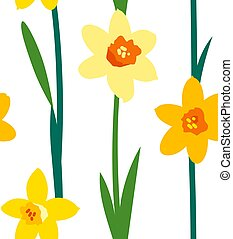 Floral seamless pattern with yellow daffodils and green branches isolated on white background. Endless texture for spring or summer design. Bright fabric print for children. Womens Day celebration