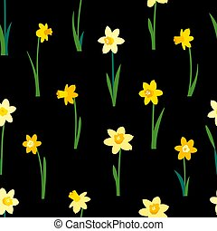 Floral seamless pattern with yellow daffodils and green leaves isolated on black background. Endless texture for spring or summer design. Bright fabric print for greeting card template.