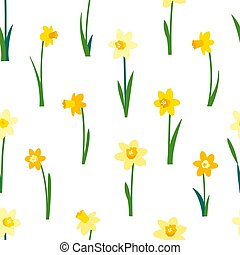 Floral seamless pattern with yellow daffodils and green leaves isolated on white background. Endless texture for spring or summer design. Bright fabric print for greeting card template. Womens Day.
