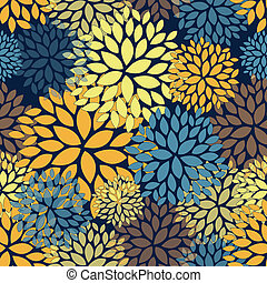 Floral absract seamless pattern within Van Gogh color