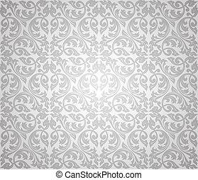 floral, seamless, plano de fondo, plata