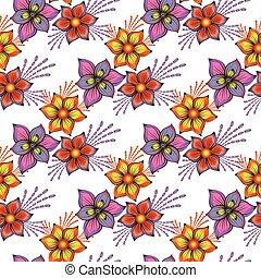 floral, seamless, printemps, modèle