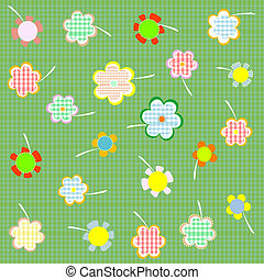 floral seamless retro pattern with many flowers Vector