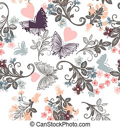Floral seamless rustic wallpaper pattern with florals and butterflies in soft pastel colors.eps