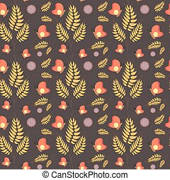 Floral seamless summer pattern, brown background. Can be used as fabric, paper, wallpaper. Vector illustration.
