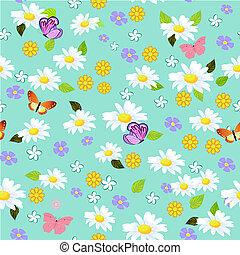 floral, seamless, texture, pâquerettes