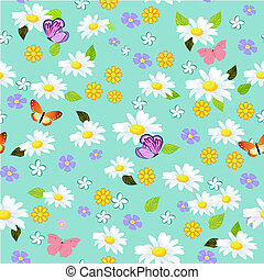 floral seamless texture with daisies