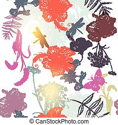Floral  seamless vector background with engraved flowers hibiscus, dragonfly. Nature illustration.eps