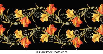 Floral seamless vector border
