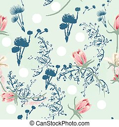 Floral seamless vector pattern with dandelions and pink cosmos flowers.eps
