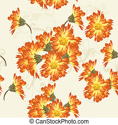Floral seamless vector wallpaper pattern with   flowers