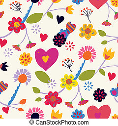 Floral seamless vintage pattern with hearts