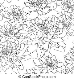 Floral seamless wallpaper with chrysanthemum flowers