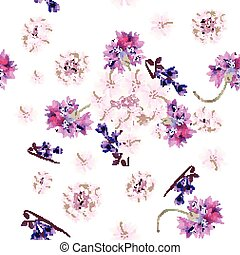 Floral seamless wallpaper pattern with tender  pink and purple flowers.eps