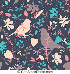 Seamless floral with birds imitating applique