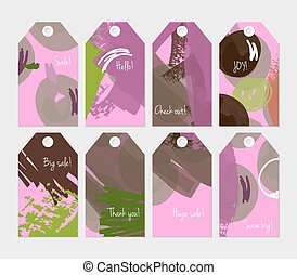 Floral seasonal with scribbles green purple tag set