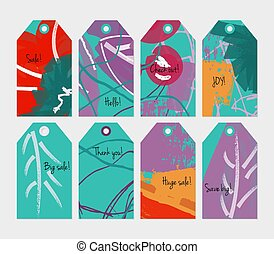 Floral seasonal with scribbles green red purple tag set
