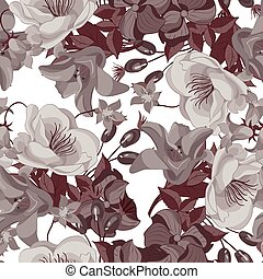 floral, sepia, pattern., seamless