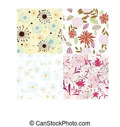 floral, set, achtergronden, seamless