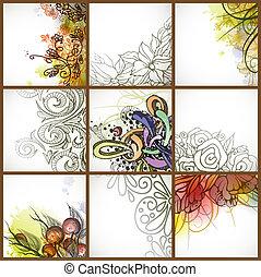floral, set, backgrounds.