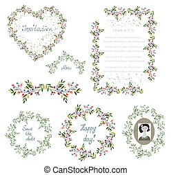 Floral set of design elements and frames for the wedding or holiday.