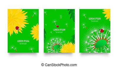 Floral set of posters, flyers or cards with blooming dandelions field flowers. Spring or summer bright yellow flowers, seed heads and red ladybugs on bright green background