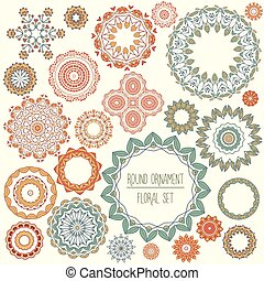 floral, set, ornament, ronde