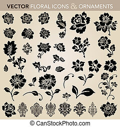 floral, set, ornament, vector