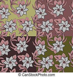 floral, set, seamless, achtergrond
