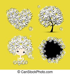 Floral set - tree, girl, heart, frame for your design