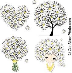 Floral set - tree, girl, heart, frame for your design