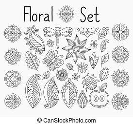 Floral set with leaves and mandalas