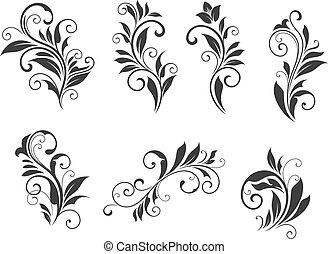 floral, sete, elementos