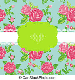 Floral Shabby Chic Card - Baby Shower, Invitation, Wedding Card - in vector
