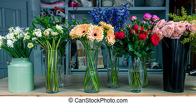 Floral shop concept . Beautiful bouquet of mixed flowers. Handsome fresh bunch. Flowers delivery.