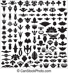 Floral silhouettes and elements of patterns. Flower design....