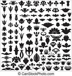 floral, silhuetas, elementos