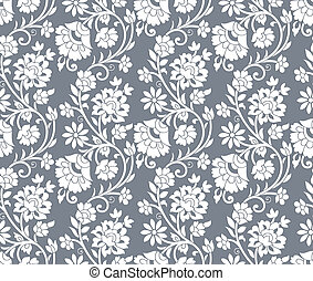 Floral silver seamless background