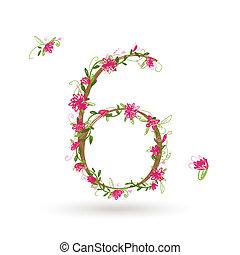 floral, six, conception, nombre, ton