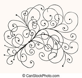 Floral sketch drawing for your design