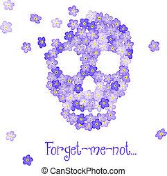 floral, skull., humano